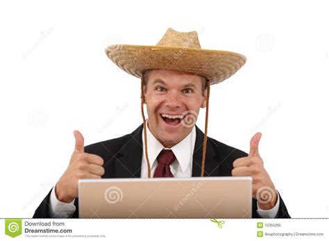 Happy Computer Man With Thumbs Up Stock Image  Image Of