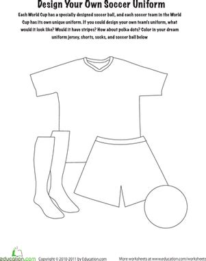 design your own soccer uniform worksheet education