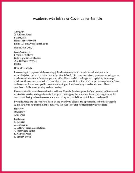 Cover Letter Exles by Cover Letter For College Registrar Position 28 Images