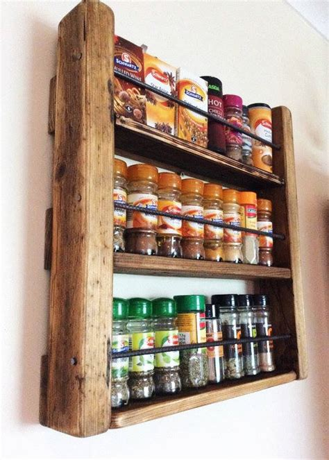 Timber Spice Rack by Spice Rack Wooden Spicerack Kitchen Storage Rustic Spice