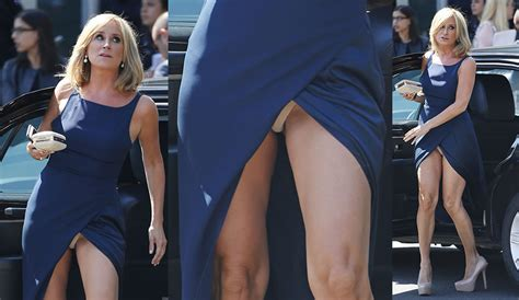 sonja morgan s panties peek out of her gown at nbc event upskirtstars