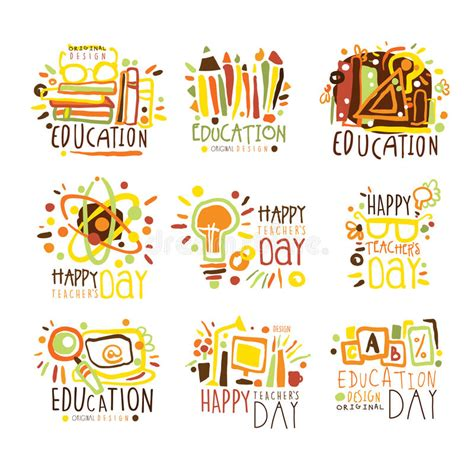 happy teachers day colorful graphic design template logo