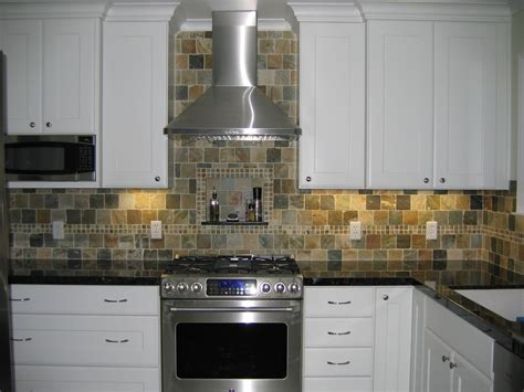 slate tile backsplash Kitchen Contemporary with none