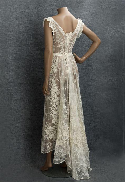 Edwardian Clothing At Vintage Textile Lace Wedding Dress