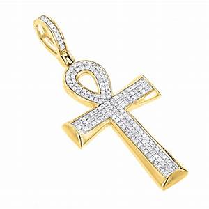 10K Gold Diamond Egyptian Cross: Ankh Pendant of Life 0.4ct