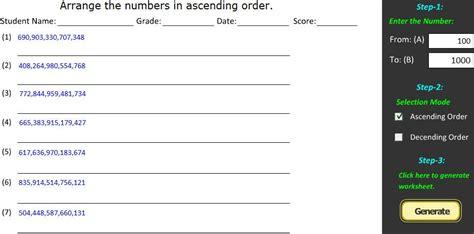 ascending order descending order worksheet generator