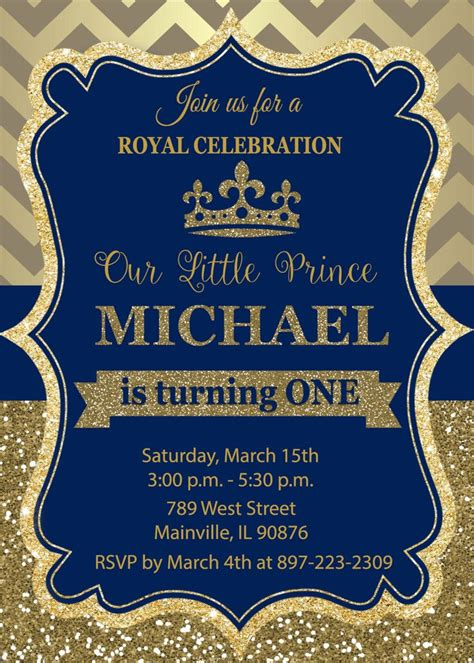 prince birthday party invitation  birthday royal