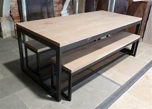Table De Salon Bois : table de salon en bois et m tal et bancs bca mat riaux anciens ~ Teatrodelosmanantiales.com Idées de Décoration