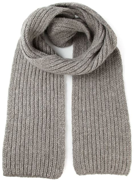 Ribbed Knit Scarf lyst demeulemeester grise ribbed knit scarf in gray