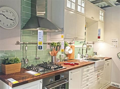 Sage Green And White Kitchen Display Showroom At Ikea