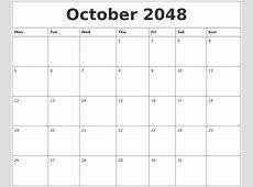 October 2048 Birthday Calendar Template