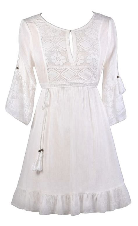 tie waist a line dress white boho dress white dress white hippie dress