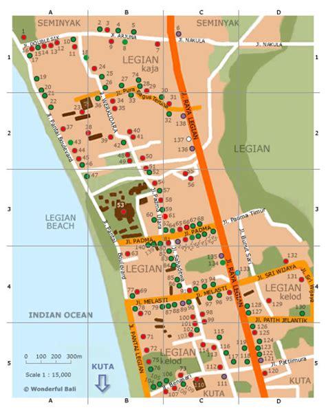 wonderful bali bali maps map  legian tempat wisata