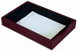 burgundy gold striped leather front load letter trays With legal size letter tray