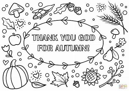 Coloring Autumn Fall Pages Printable God Thank