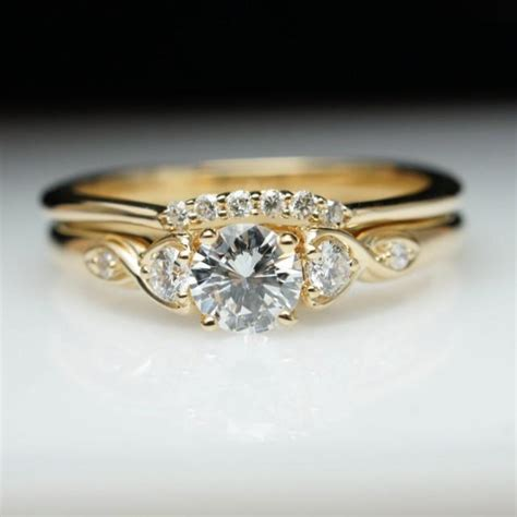 wedding and engagement ring sets yellow gold vintage antique style diamond engagement ring wedding