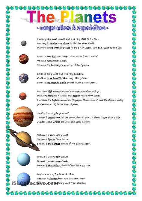 the planets comparative superlative esl worksheets