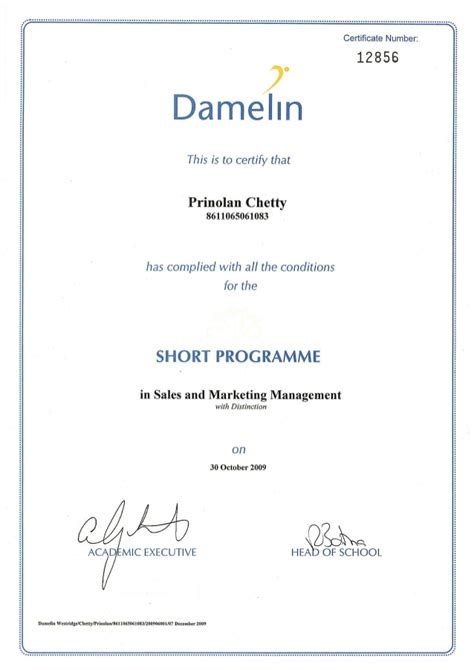 marketing certificate sales and marketing management certificate
