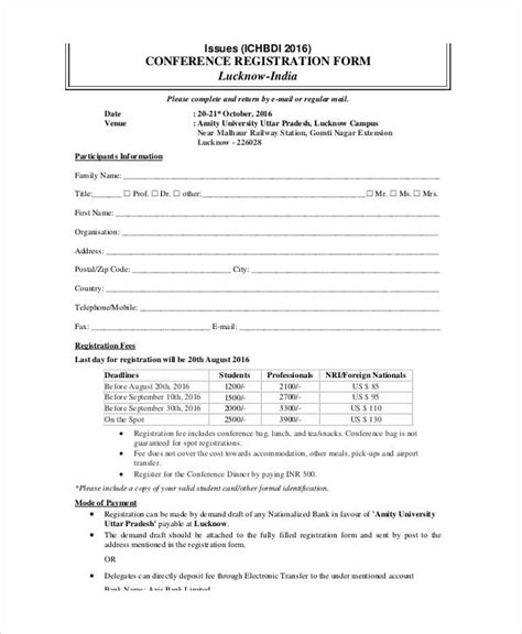 conference evaluation form template free printable registration form templates 9 free pdf