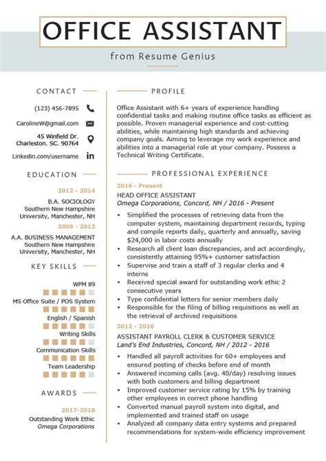 Office Assistant Resume by Office Assistant Resume Exle Writing Tips Resume