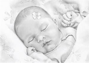 Custom Newborn Drawing Baby Illustration Memory Sketch