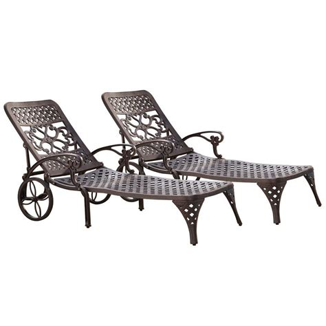 home styles biscayne bronze patio chaise lounge set of 2