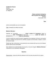 modele de lettre de visite de préreprise modele attestation travail employeur document
