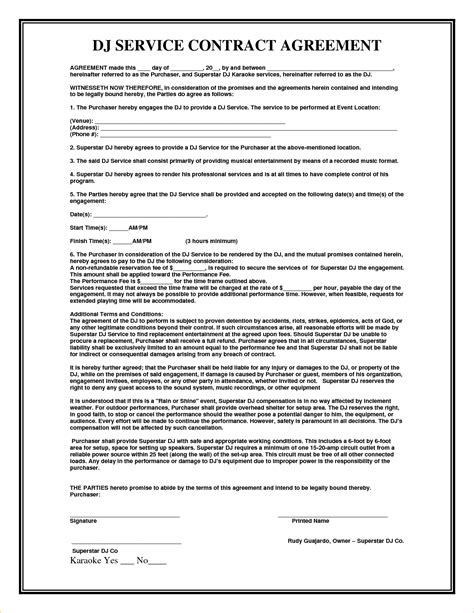 Contract Template 7 Service Agreement Contract Template Timeline Template