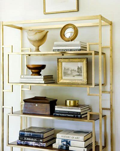 gold metal bookcase cup half industrial shelving