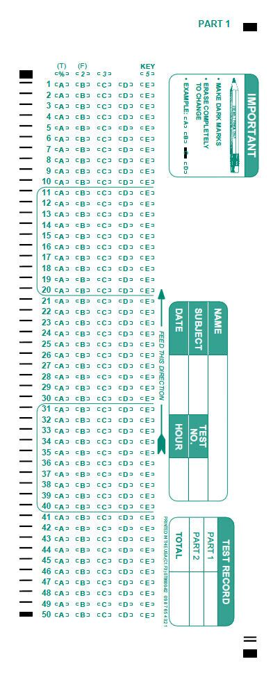 scantron  compatible test answer sheets  forms
