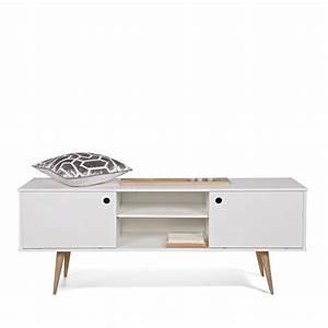 Meuble Bois Et Blanc : meuble tv retro blanc et bois par ~ Teatrodelosmanantiales.com Idées de Décoration