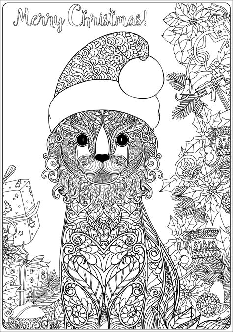 christmas cat  gifts long version christmas adult coloring pages