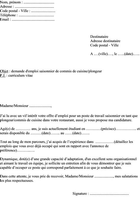 exemple lettre de motivation cuisine exemple de lettre de motivation d été plongeur ou