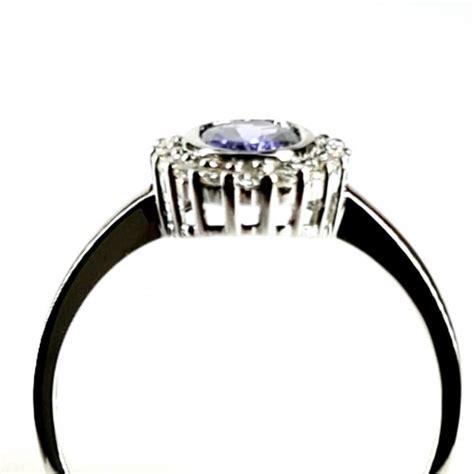 Baltā zelta gredzens ar tanzanītu un briljantiem ...