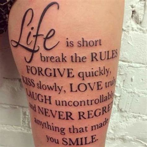 Spruch Tattoo Oberschenkel  Tattoo's  Pinterest Tattoo