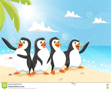 Illustration Of Funny Penguin Cartoon On The Beach Stock