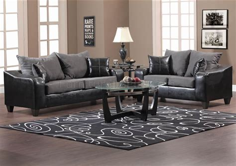 gray sofa and loveseat set black vinyl and grey fabric modern sofa loveseat set w