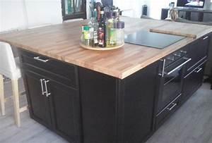 renovation de cuisine sur mesure avec ilot central en bois With plan de travail ilot cuisine