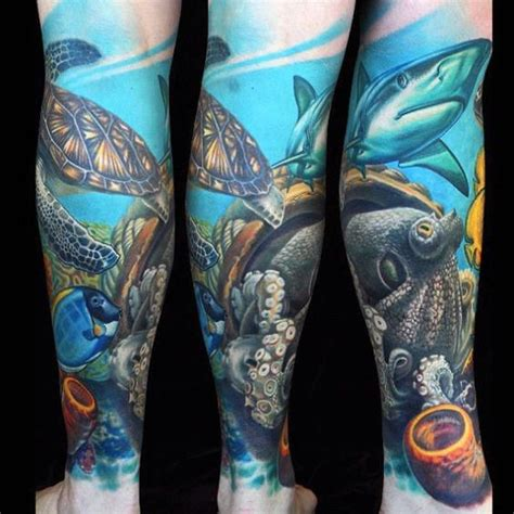 ocean themed thigh tattoos images  pinterest