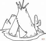 Coloring Teepee Pages Cactus Tipi Printable Drawing Paper sketch template