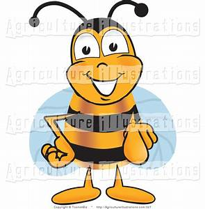 Agriculture Clipart of a Happy Bee Mascot Cartoon ...