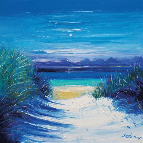 beach path luskentyre isle harris island blue
