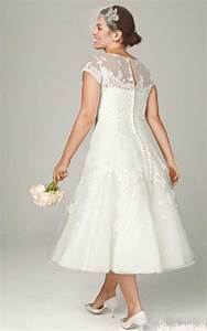 tea length wedding dresses with sleeves plus size With tea length wedding dresses plus size