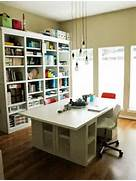 Large Work Table Assembled From Ikea Tops Drawers And Shelving Units  Stora