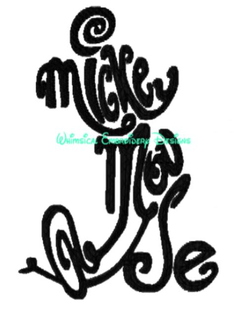mickey mouse typography letters machine embroidery applique design instant  meylah