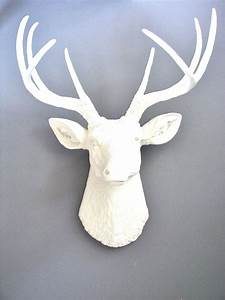 White deer head faux taxidermy wall mount hanging