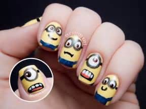 Minions despicable me nail art chalkboard nails