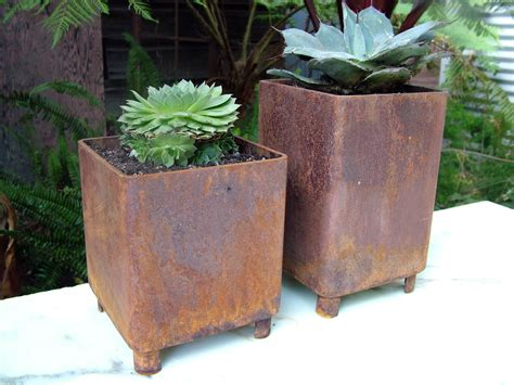 rusted steel planters staci southwick metal planters