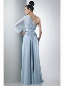 one shoulder long sleeve chiffon blue bridesmaid dresses With long sleeve dress for wedding guest