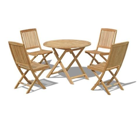 Suffolk Round Folding Garden Table 1m And 4 Dining Chairs Set